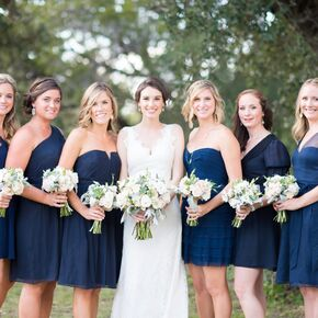 Navy Bridesmaid Dresses With Neutral Bouquets