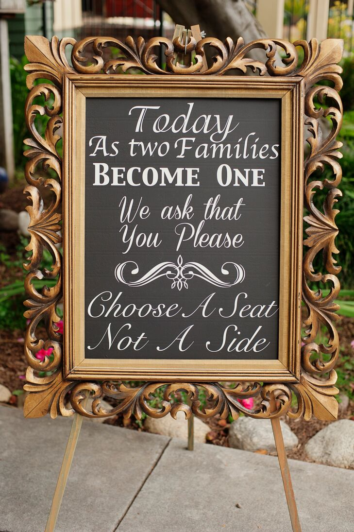 Gold-Framed Chalkboard Wedding Ceremony Sign
