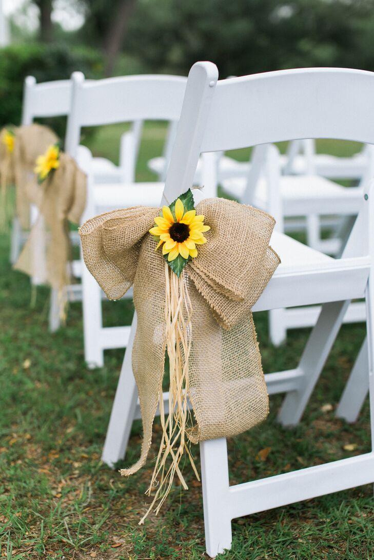 sunflower and burlap bow aisle decor. Black Bedroom Furniture Sets. Home Design Ideas