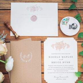vintage floral wedding invitations with wax seals - Wedding Invitations Vintage