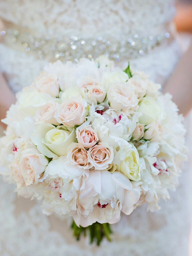 white bouquet with peonies and roses - White Garden Rose Bouquet