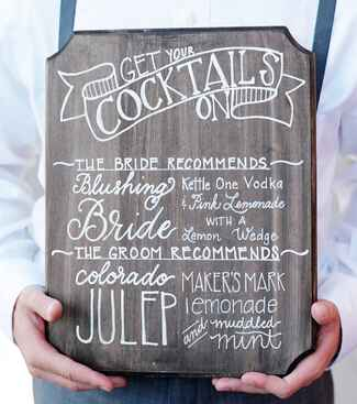 Illustrated wooden cocktail menu plaque