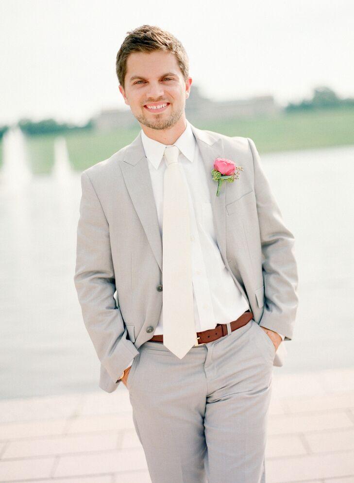 Light Gray Suit With Cream Tie