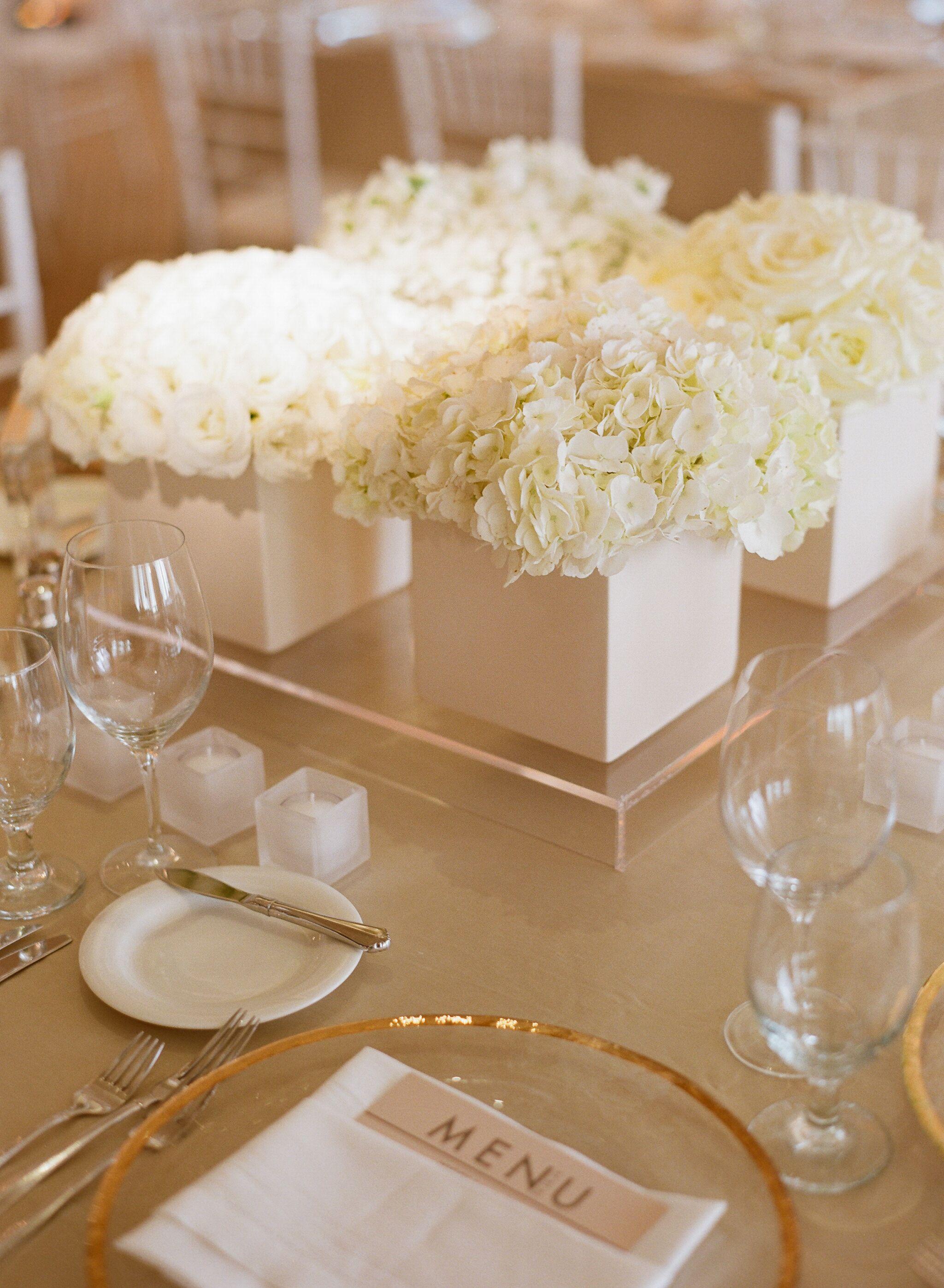 Low White Hydrangea And Garden Rose Centerpieces