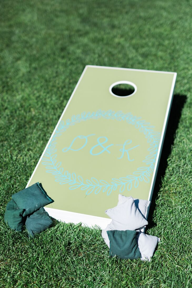 Devin and Kay handcrafted corn hole boards and bags for the reception at Lyons Farmette in Lyons, Colorado.
