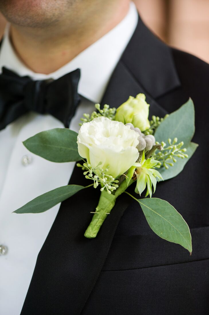 White Rose Silver Brunia And Seeded Eucalyptus Boutonniere