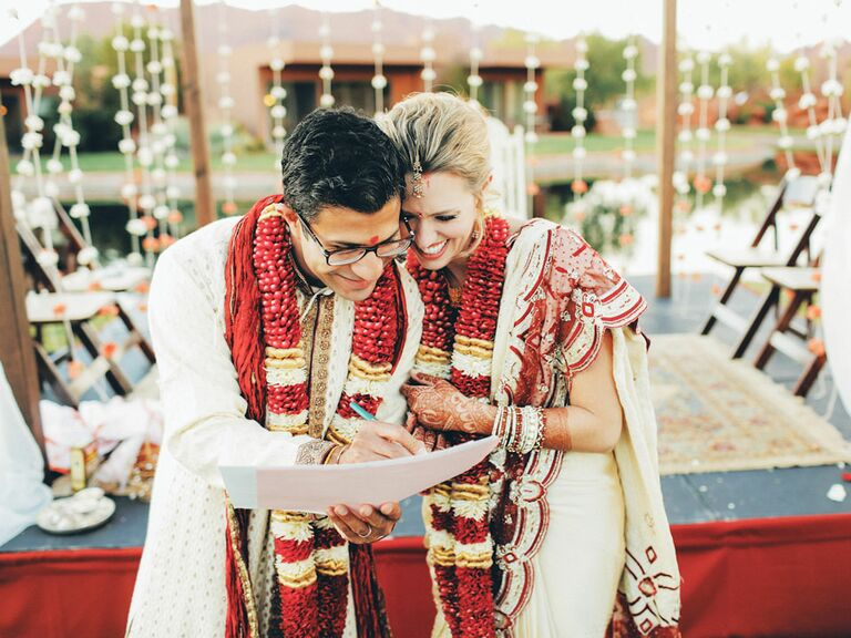 couple in traditional indian garb