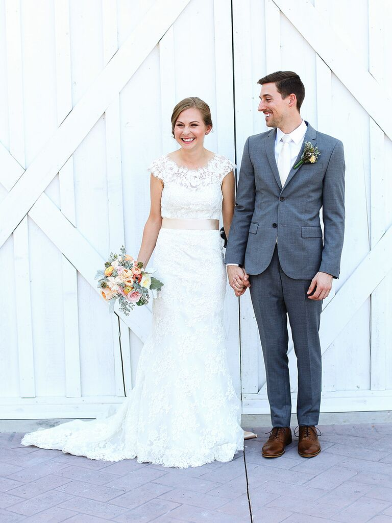 9 rules for accessorizing your wedding dress bride in lace wedding dress groom in gray suit ombrellifo Choice Image