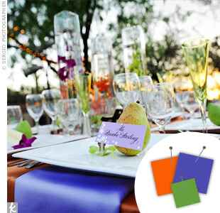 Purple, orange and lime place setting