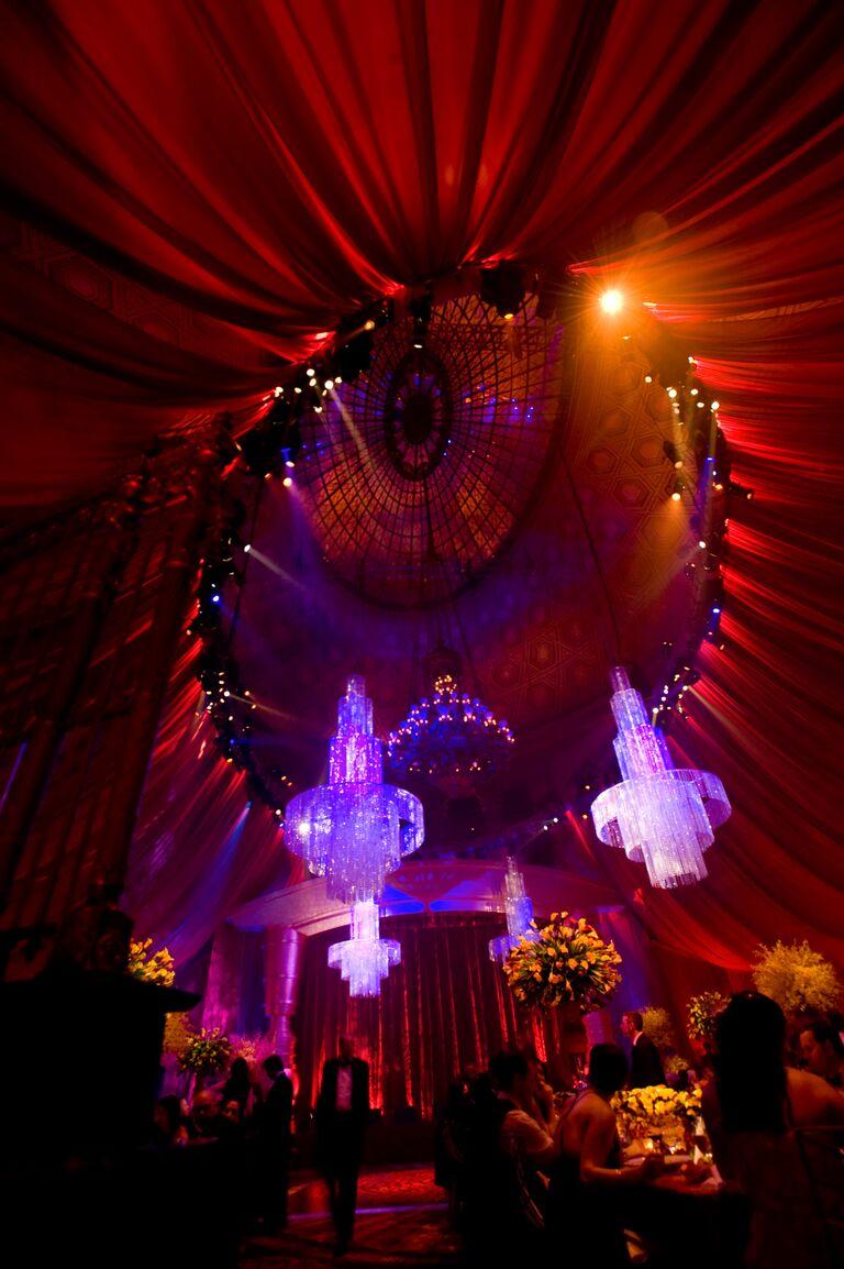 Marcy Blum's dramatic draped reception venue