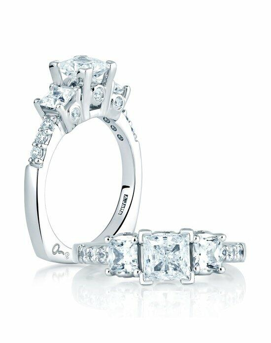 A.JAFFE Princess Three Stone Prong Set With Bezel Set Round Stones, MES126 Engagement Ring photo