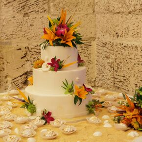 White Wedding Cake With Tropical Details