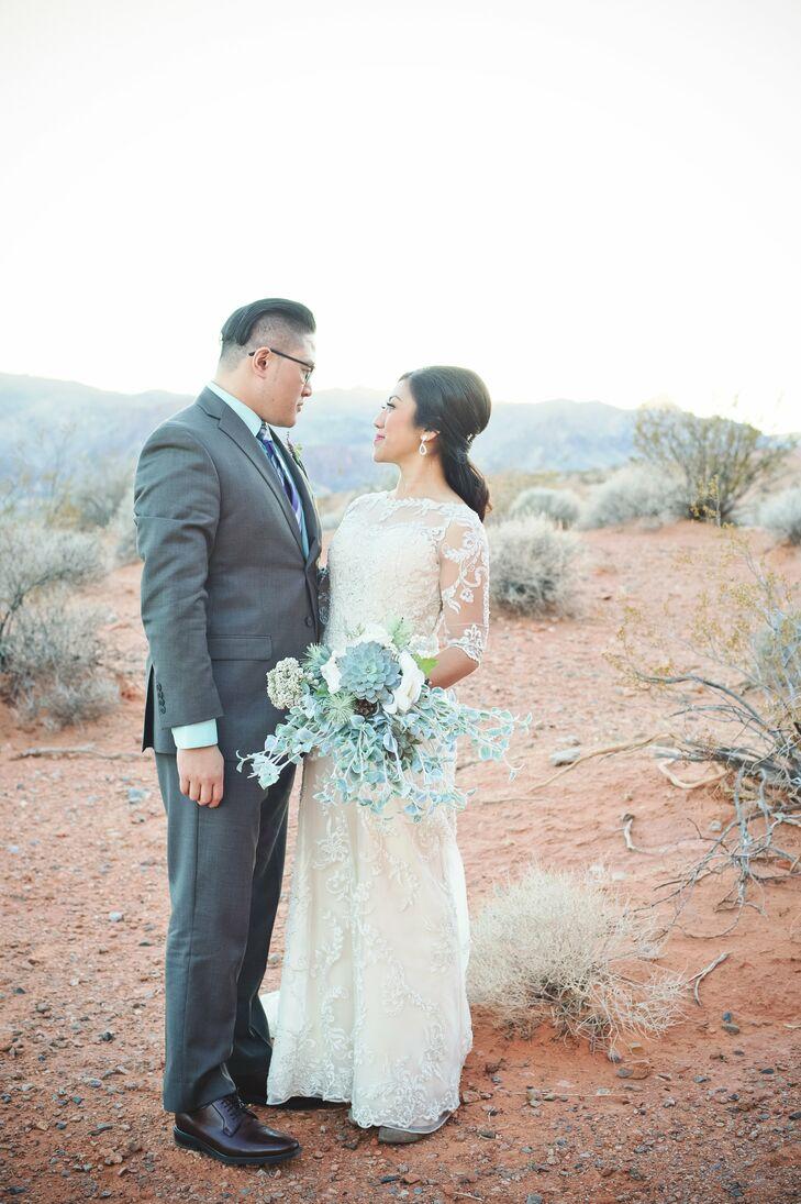 Succulent Bridal Bouquet Vintage-Inspired Desert Wedding