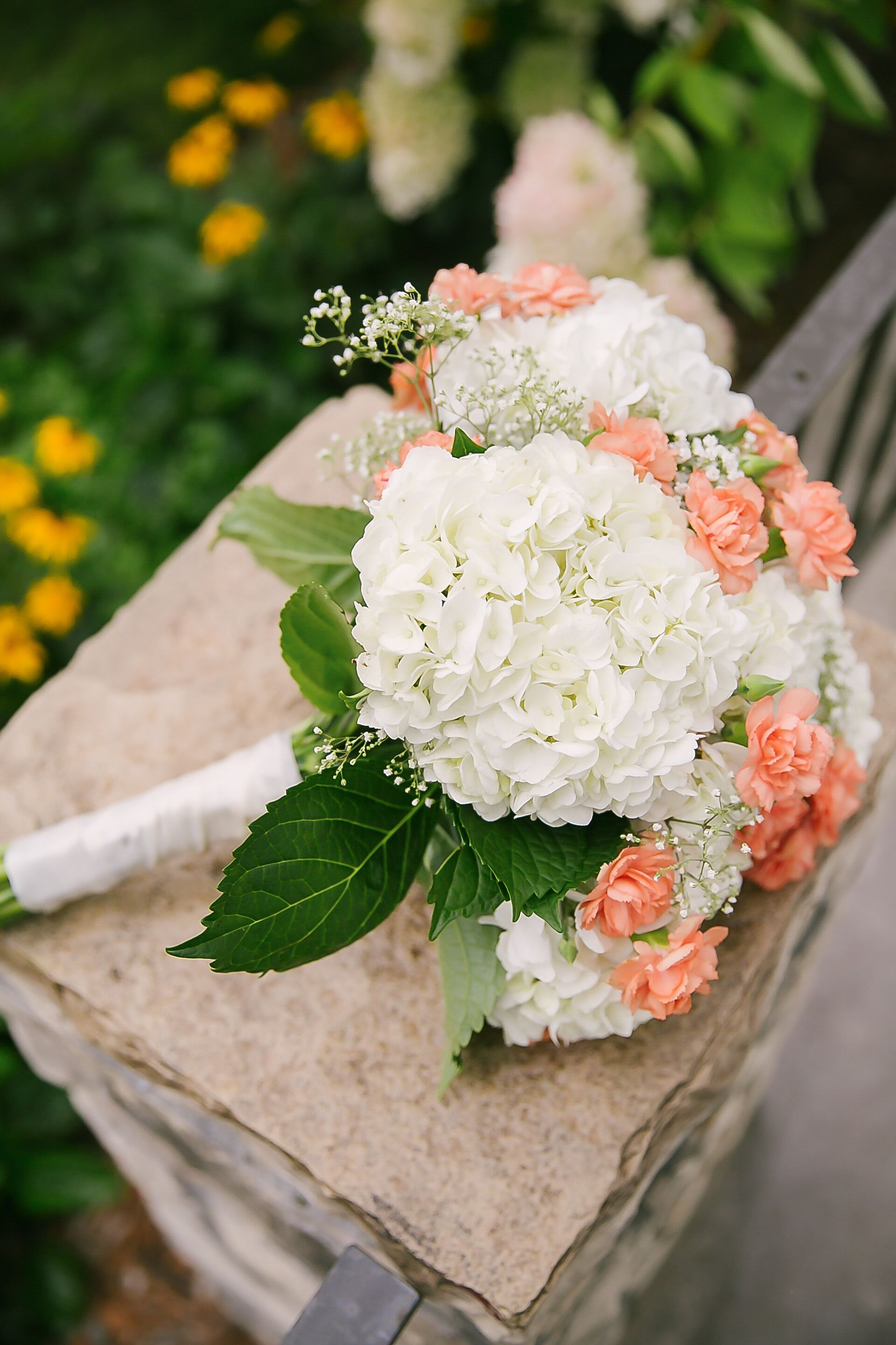 carnation wedding bouquet white hydrangea and carnation bridal bouquet 2461