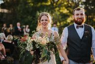 Hannah Culp (25 and works for the Victoria's Secret home office) and Chance Price (25 and a construction project manager) hosted a DIY wedding at the