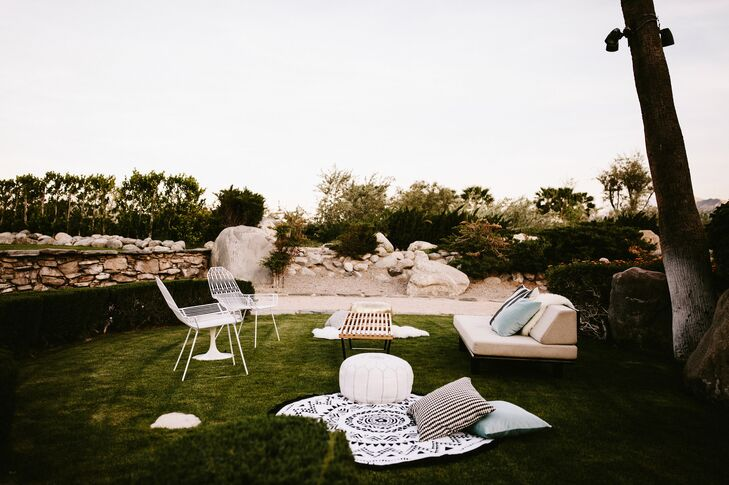 At Frederick Loewe Estate in Palm Springs, California, guests could relax on vignettes artfully appointed with modern white chairs, couches and love seats.