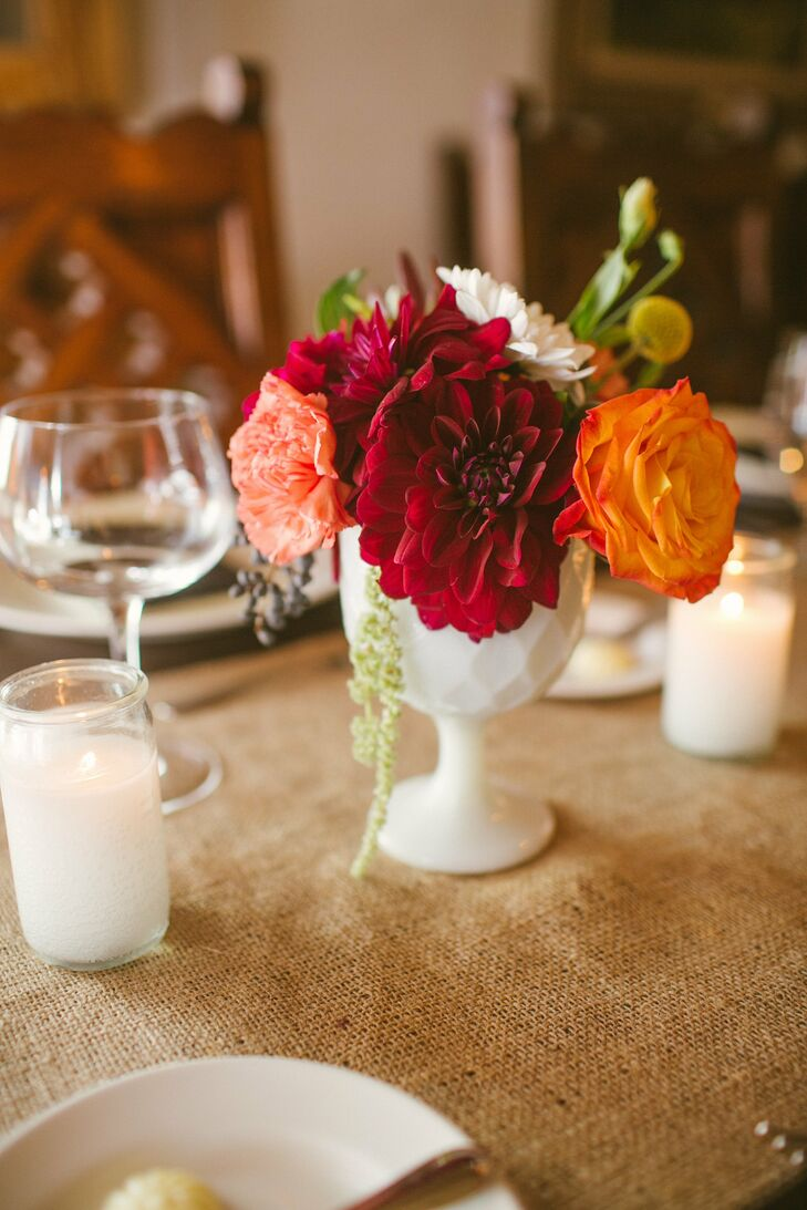 Dark red dahlia centerpieces