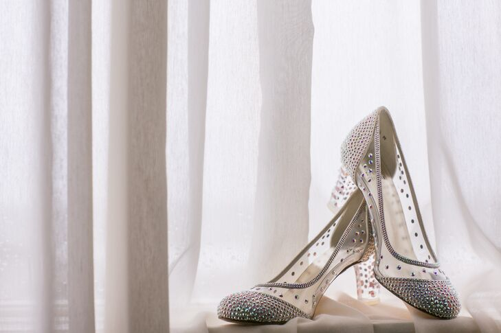 """I have to say, that my favorite part of my outfit was my shoes—they really felt like a modern day Cinderella slipper,"" Caitlin says of her crystal embellished Stuart Weitzman pumps."