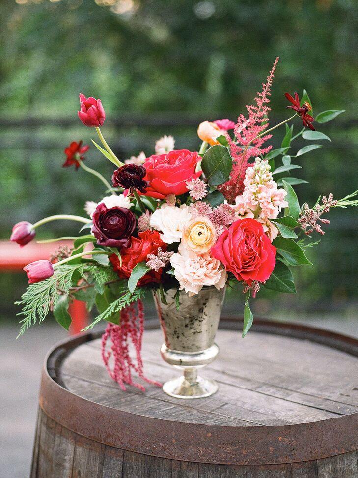Romantic cascading pink red and burgundy flower arrangement mightylinksfo