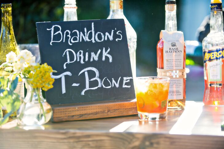 "Two signature cocktails were served in addition to the full bar. The groom's cocktail was called ""Brandon's ""T-Bone,"" a mix of whiskey and spicy jalapeno."