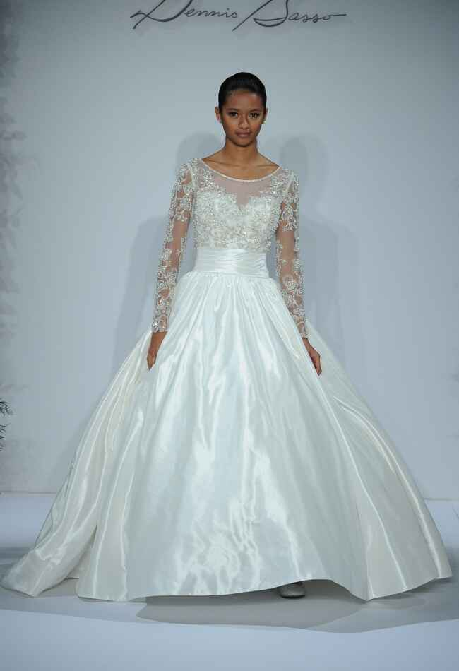dennis basso wedding dresses 2015 feature cascading ruffles for fall. Black Bedroom Furniture Sets. Home Design Ideas