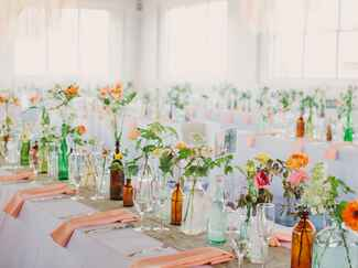Coral and turquoise wedding reception color palette