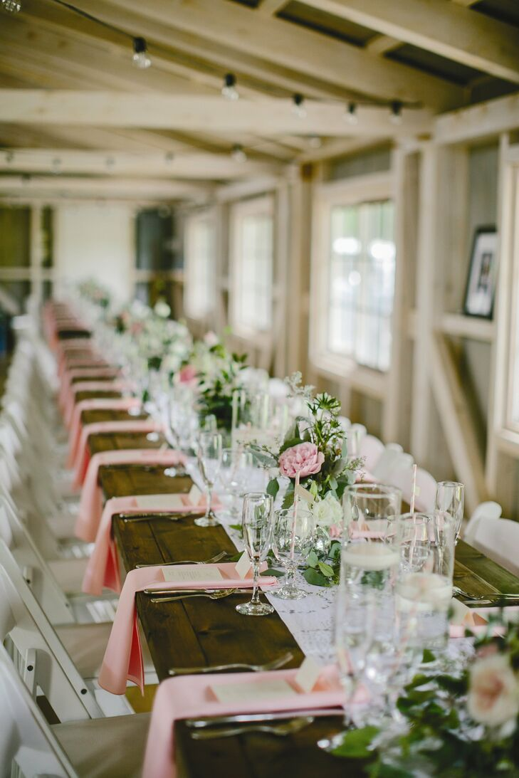 8ft Farm tables with white resin chairs. (With images ... |Farmhouse Table Wedding Reception