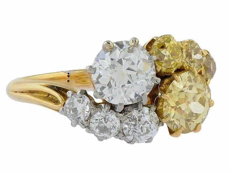 Antique yellow and white diamond crossover ring from Morelle Davidson