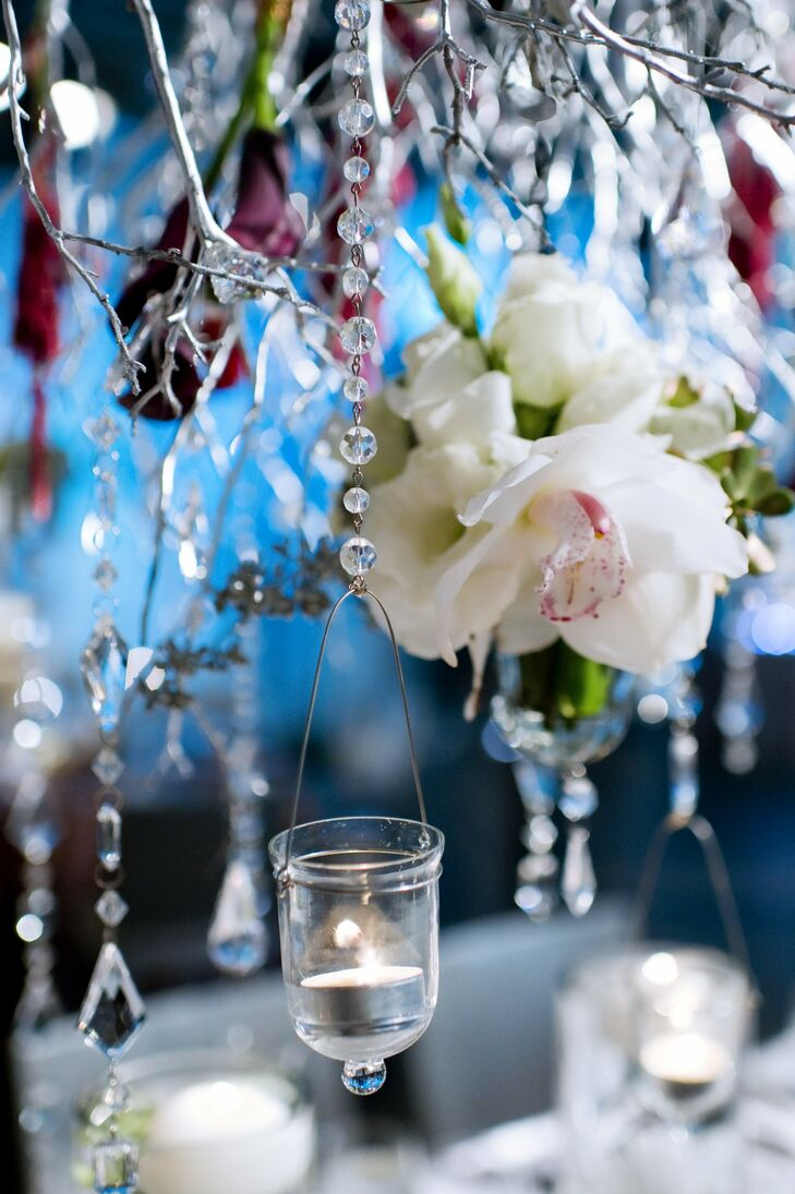 Votives, crystals, manzanita branches and flowers dangled from the ceiling.
