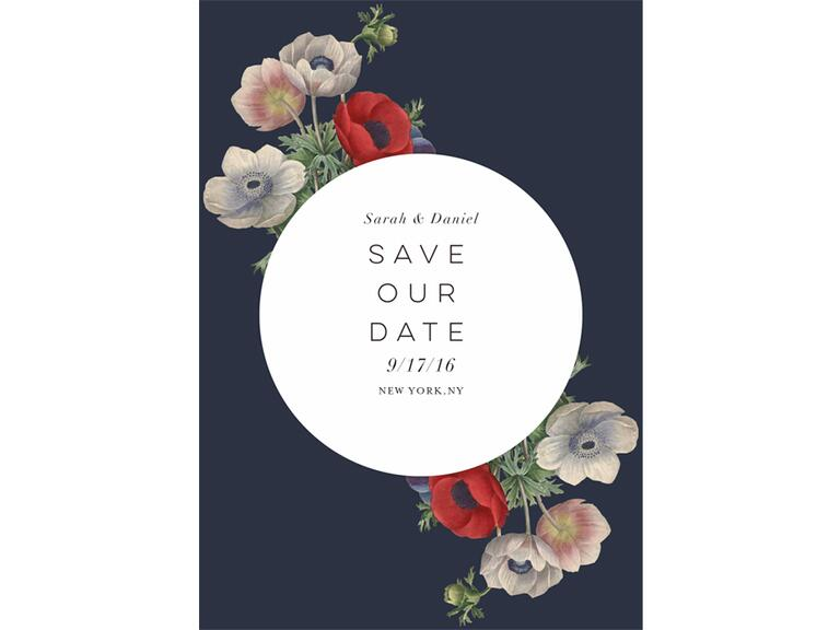 Wildflower designed save the date from Greenvelope The Knot
