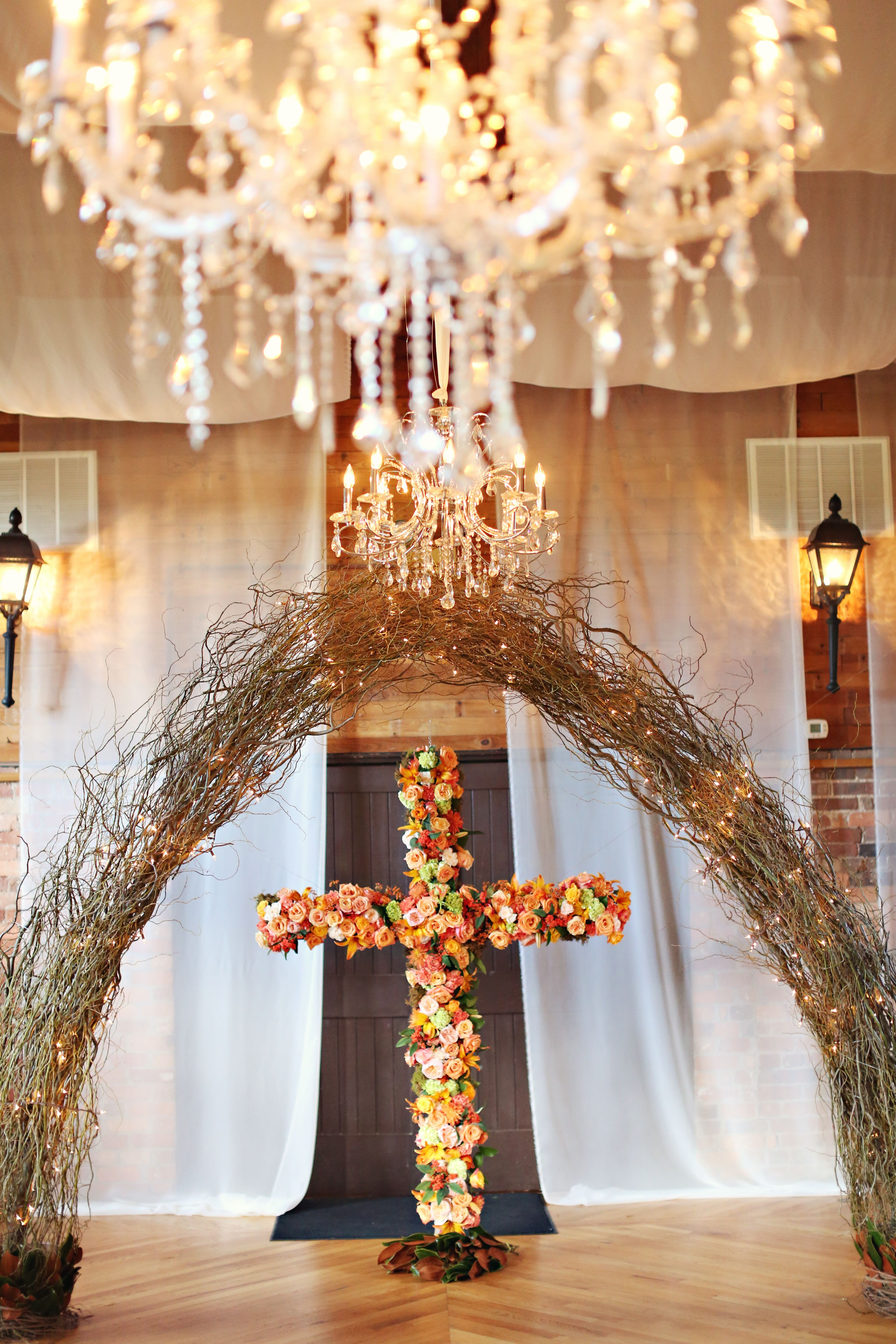 Curly Willow Vine Ceremony Arbor And Floral Cross Backdrop