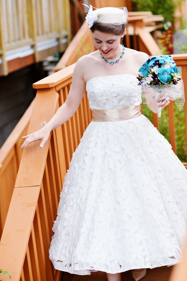 Ivory Wedding Dress With Floral Overlay