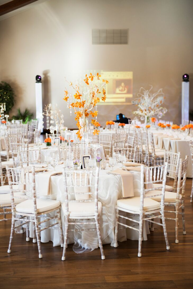 Cascading Orange Flower, White Tree Centerpieces