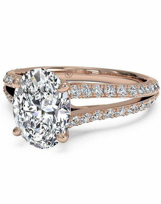 Ritani Oval Cut Double French-Set Diamond 'V' Engagement Ring with Surprise Diamonds in 18kt Rose Gold (0.24 CTW) Engagement Ring photo