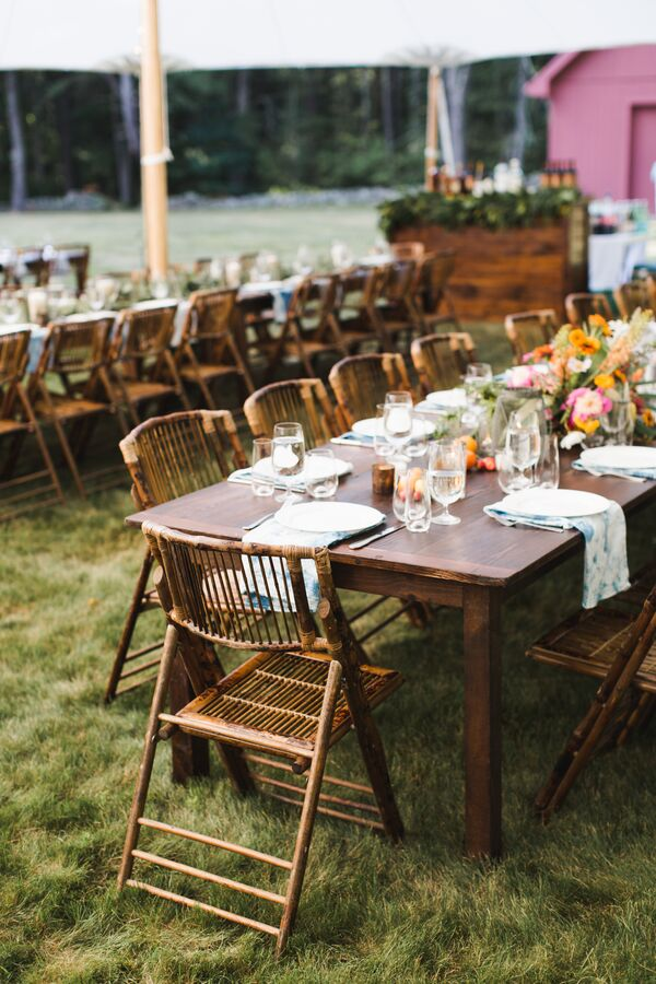 Wood Tables with Cane Folding Chairs