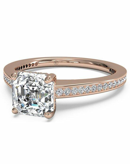 Ritani Asscher Cut Diamond Micropave Band Engagement Ring in 18kt Rose Gold (0.20 CTW) Engagement Ring photo