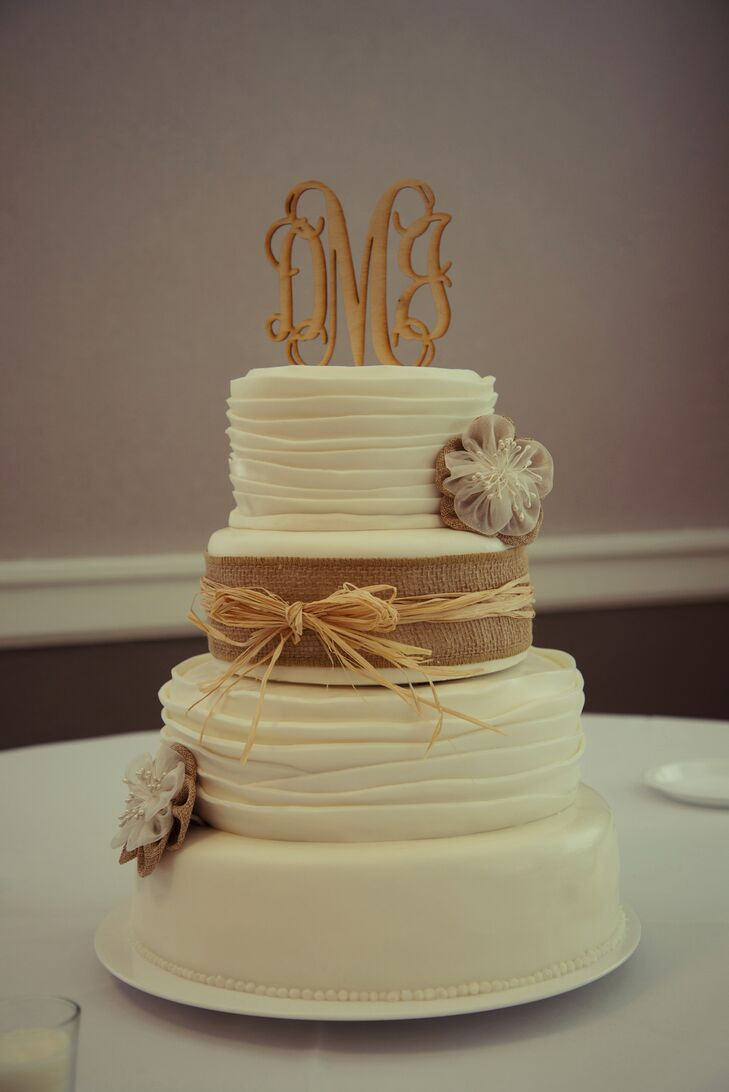 Rustic Wedding Cake With Burlap And Straw Ribbon Monogram Topper