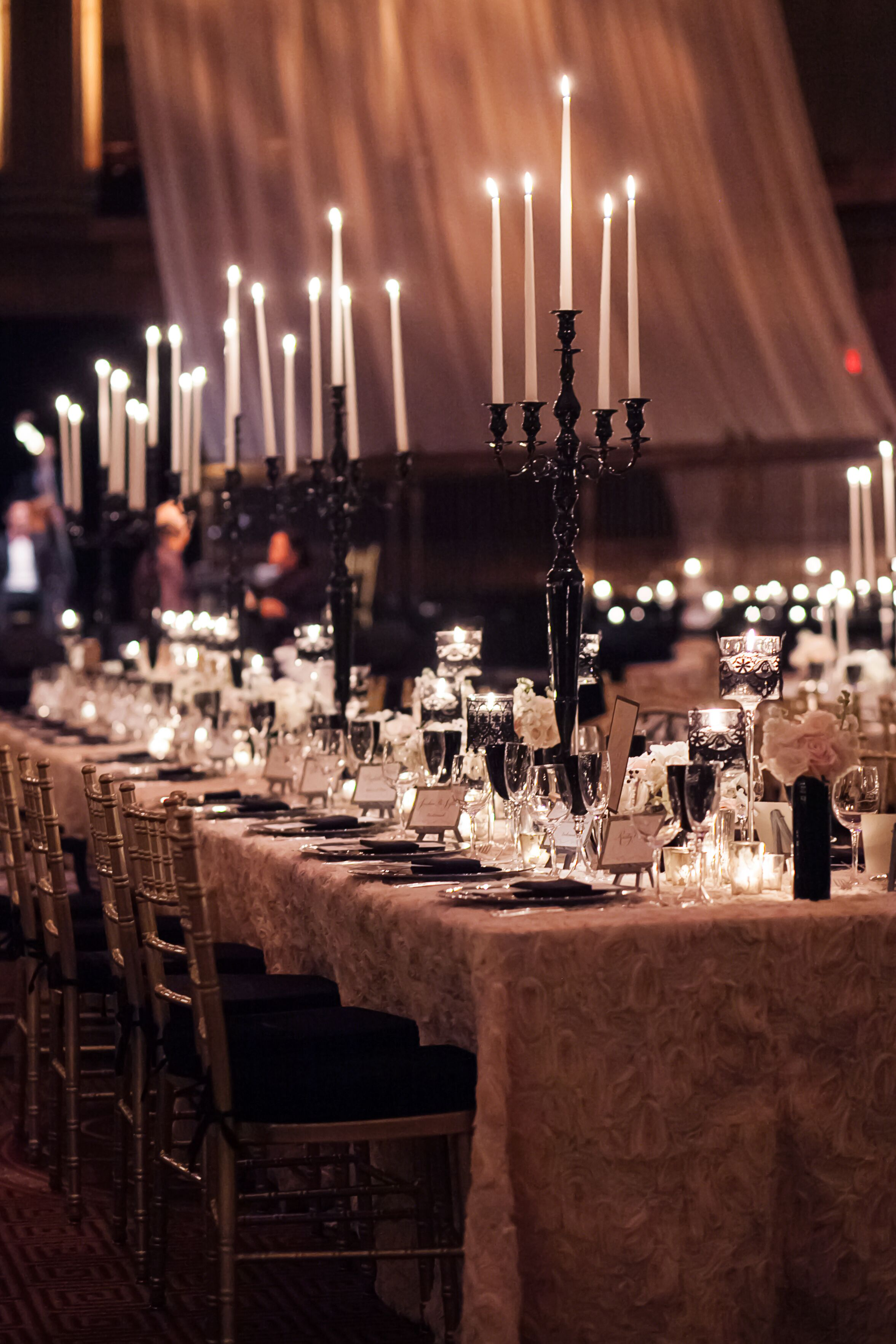Tall black candelabra head table centerpieces