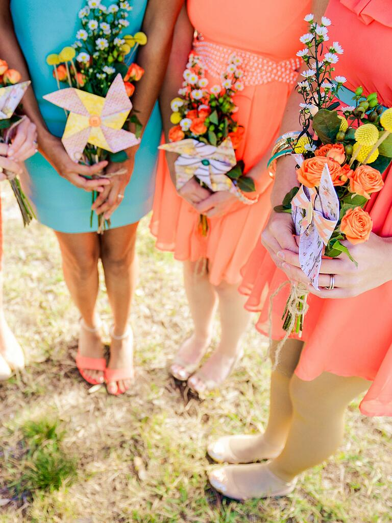 Colorful bridesmaids bouquets with paper pinwheels