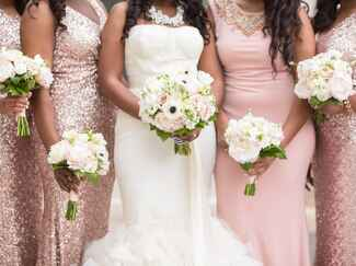 Bridesmaids in blush sequin formal dresses