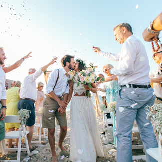 outdoor beach wedding ceremony exit