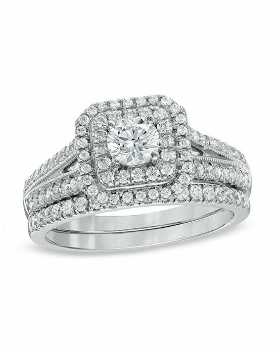 Celebration Diamond Collection at Zales CEL GRAND CERT 1CTTW14KWG 3/8CTRD MG SET  19995370 Engagement Ring photo