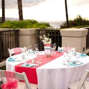 White And Coral Dining Table Linens