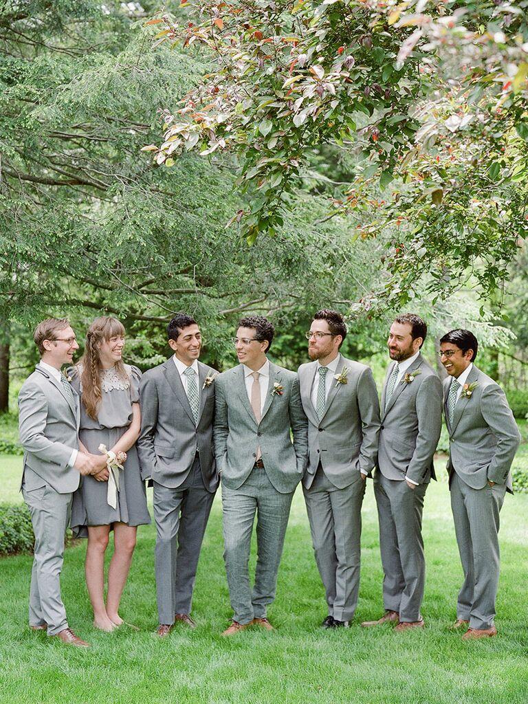Groomswomen And Bridesmen In Wedding Party