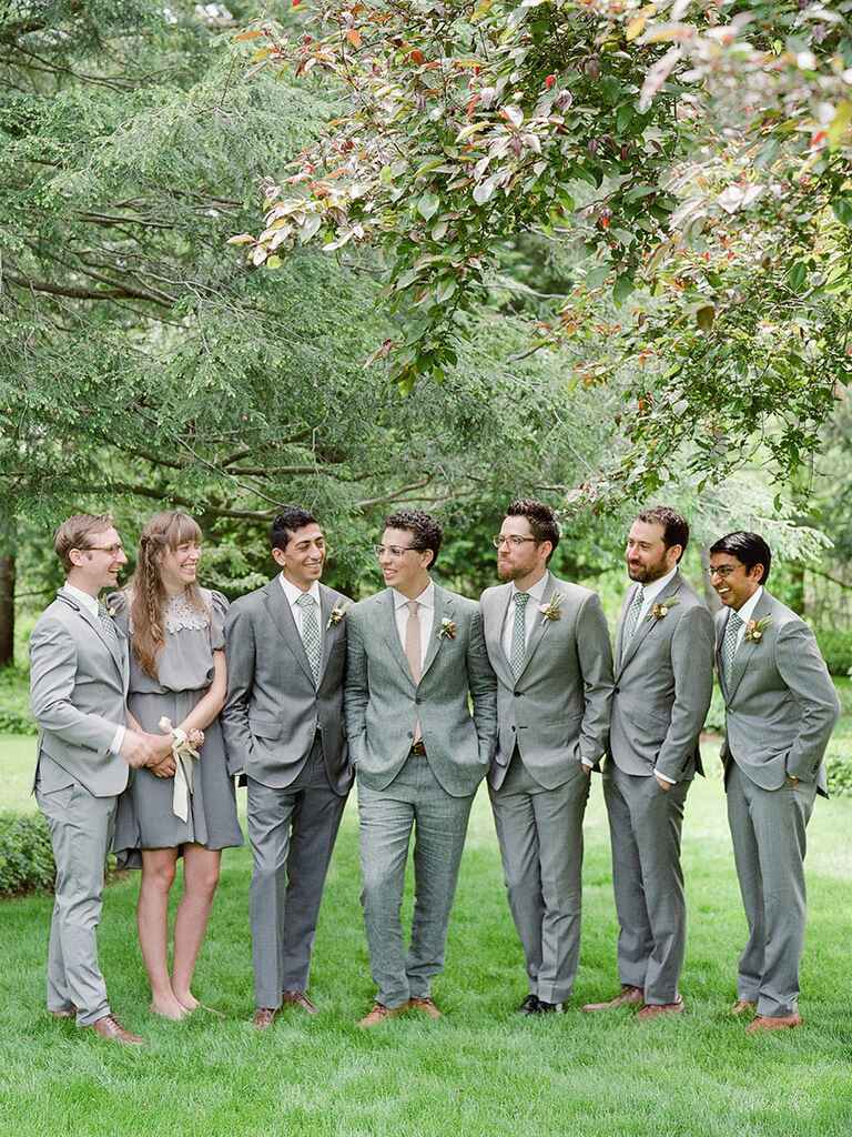 Groomswomen and bridesmen in wedding party
