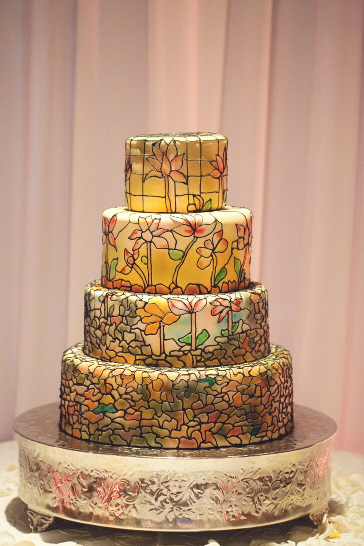 Pastel Stained Glass Wedding Cake