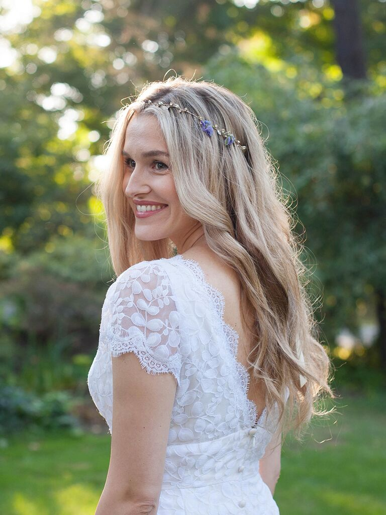 Natural Wavy Wedding Hairstyle With Boho Hair Accessory