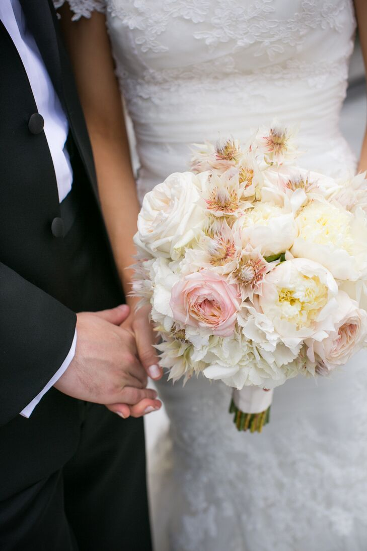 pink and white peony garden rose and protea bridal bouquet - Garden Rose And Peony