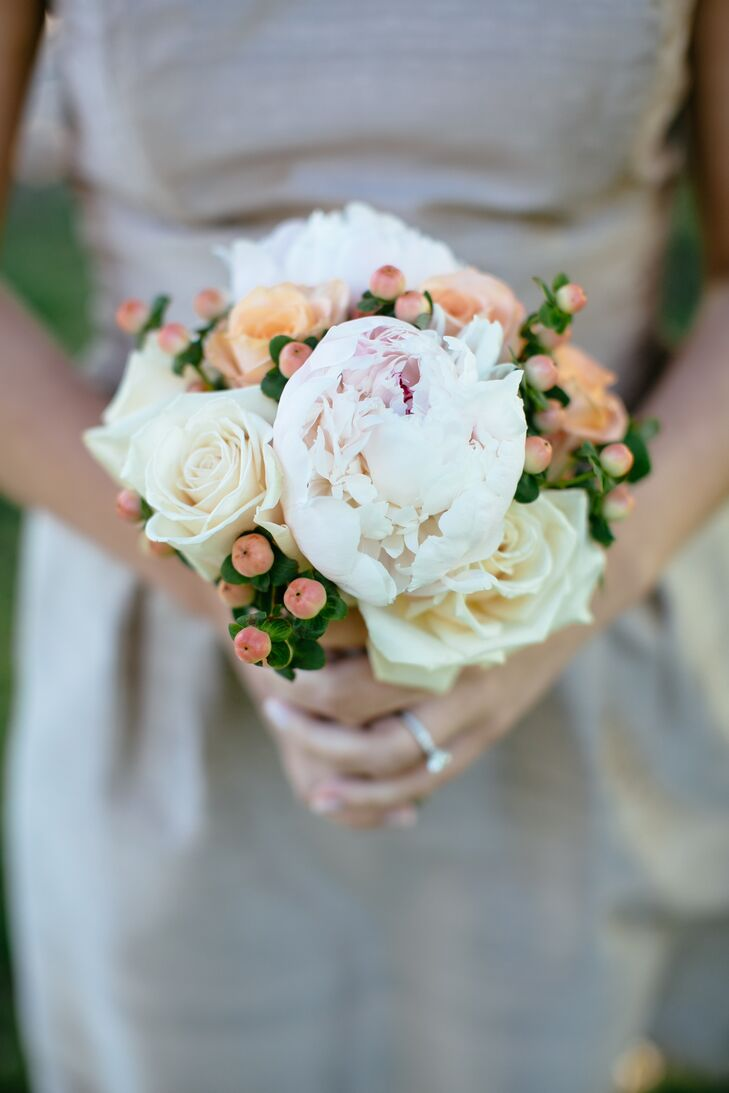 Peony, Rose and Hypericum Berry Bouquet