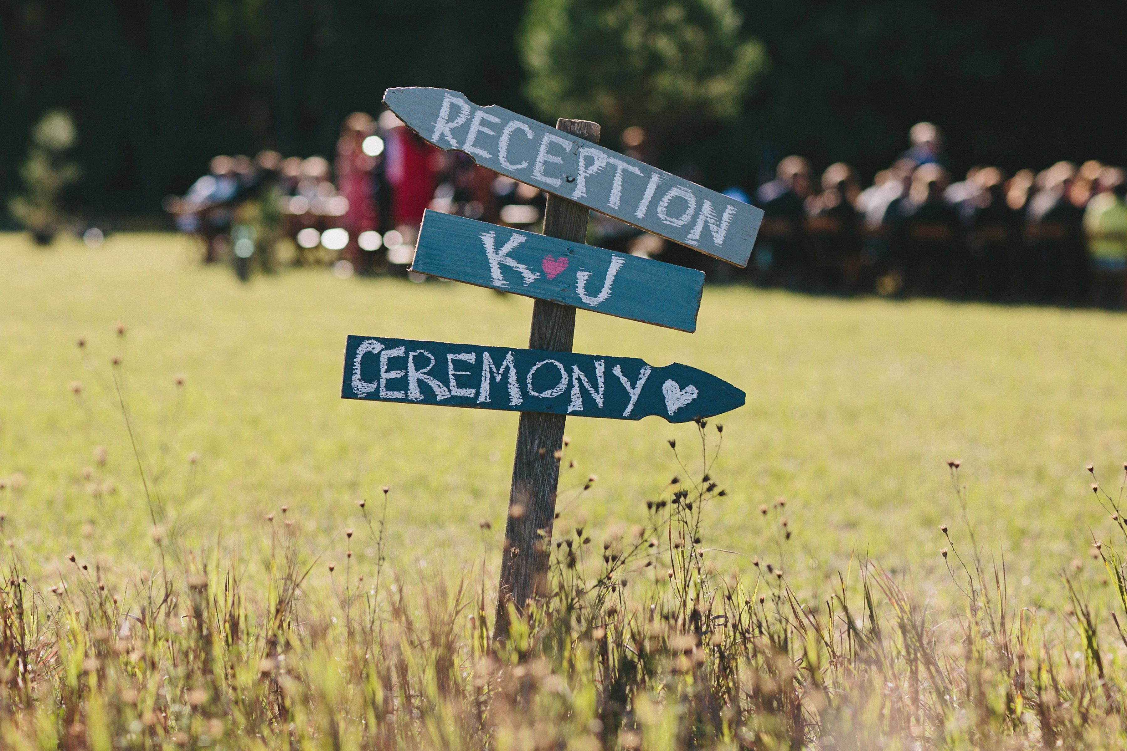 Wooden Ceremony And Reception Sign